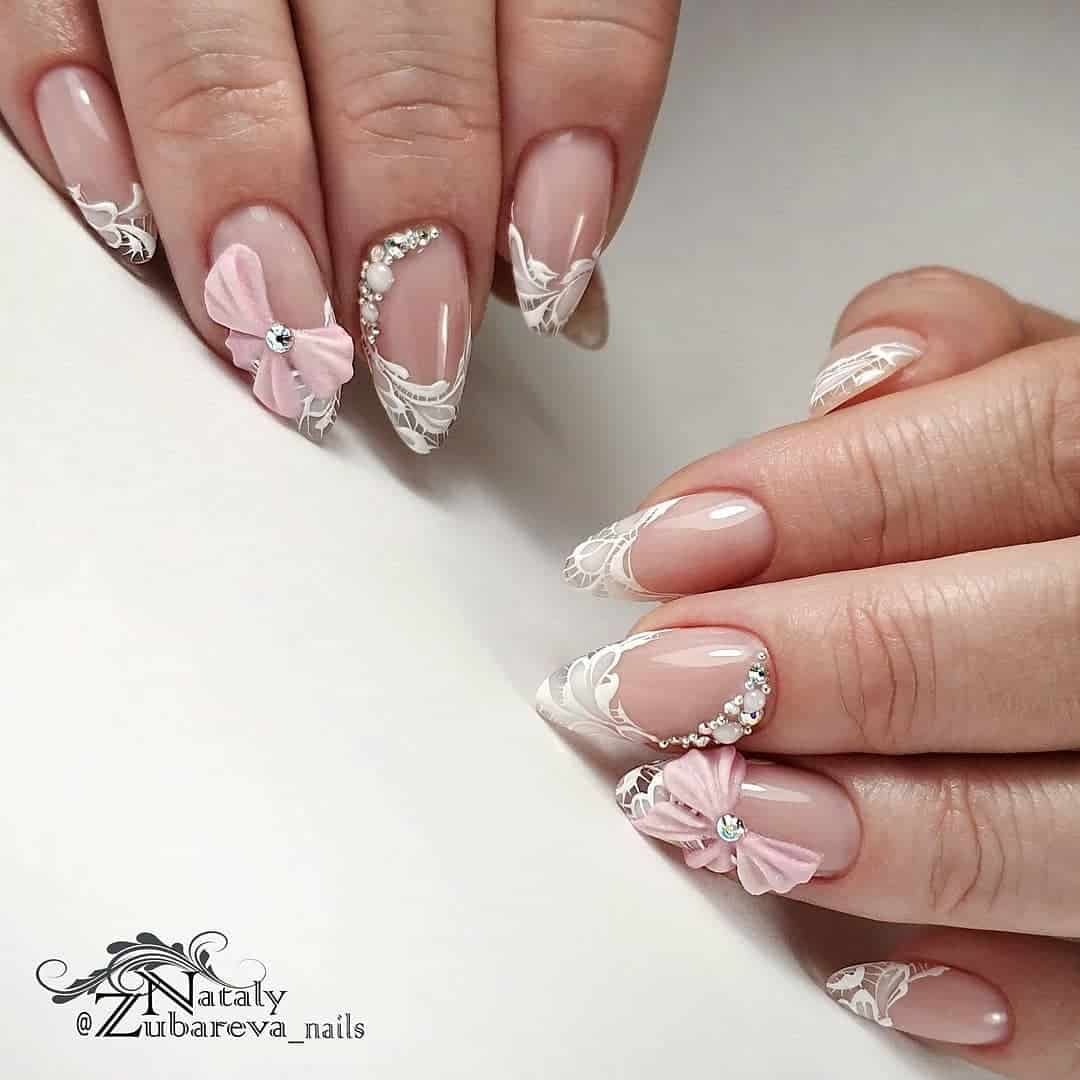 Wedding manicure: lace nail design