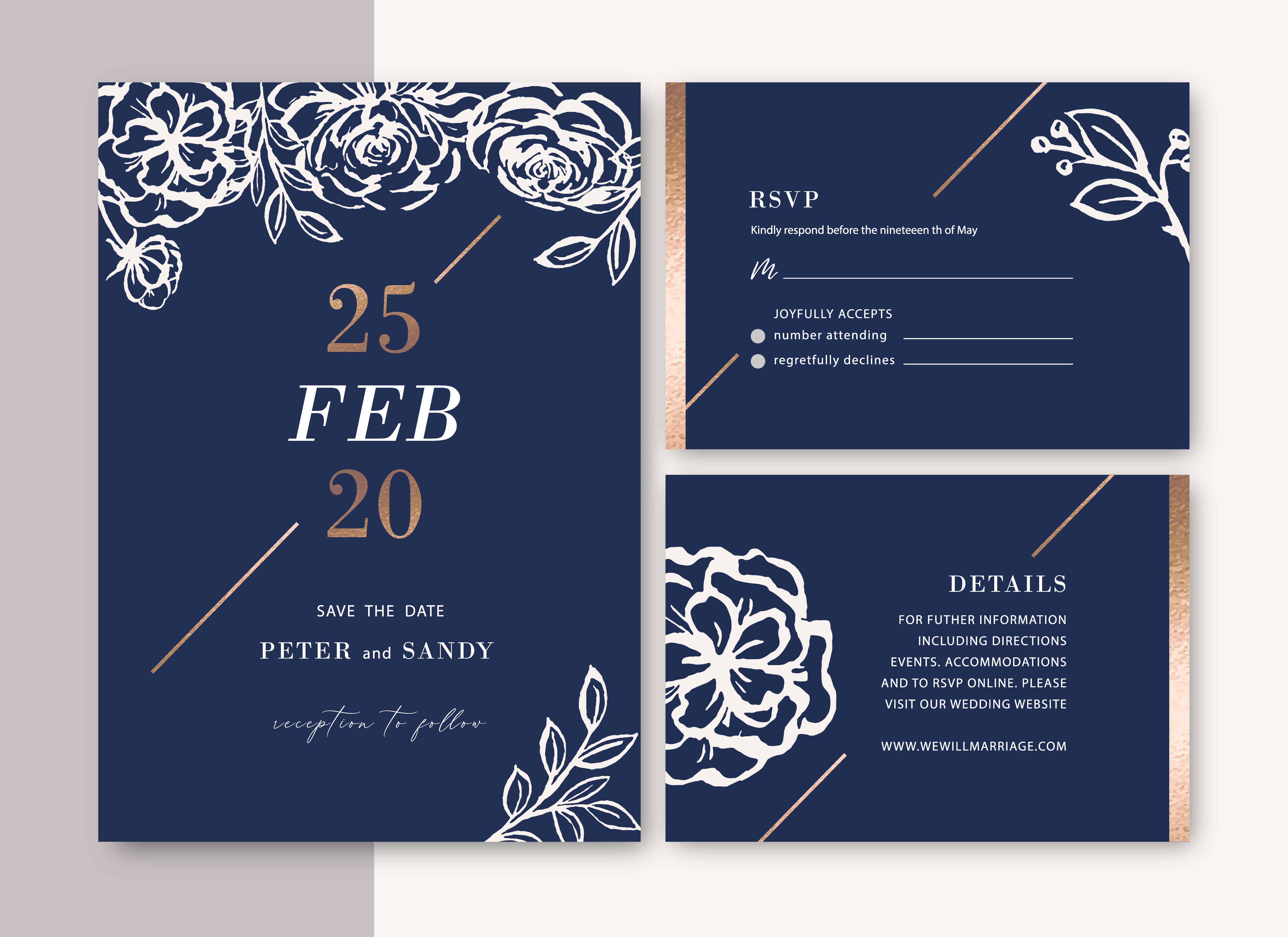 Blue and White - Wedding Invitation