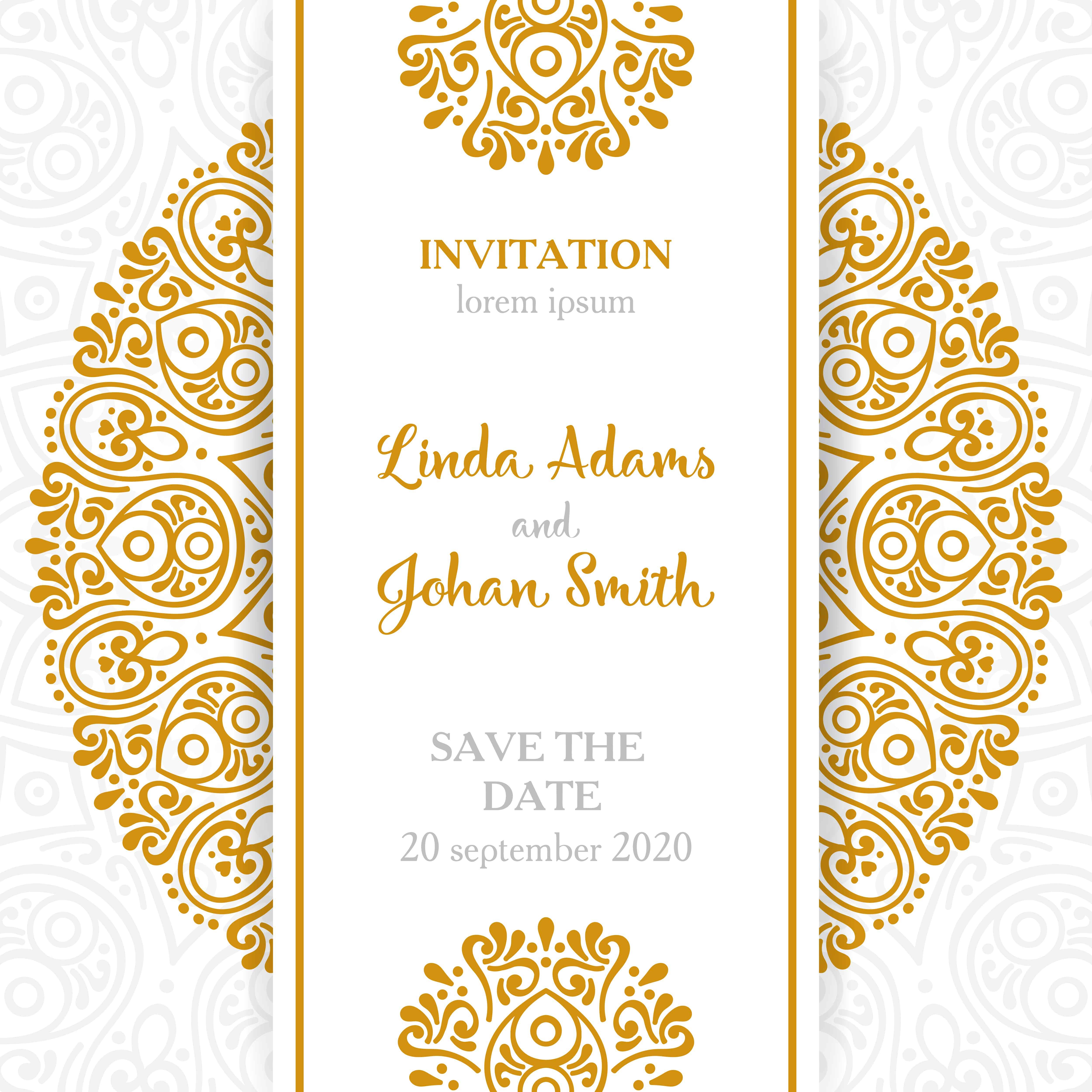 Golden Lace - Wedding Invitation