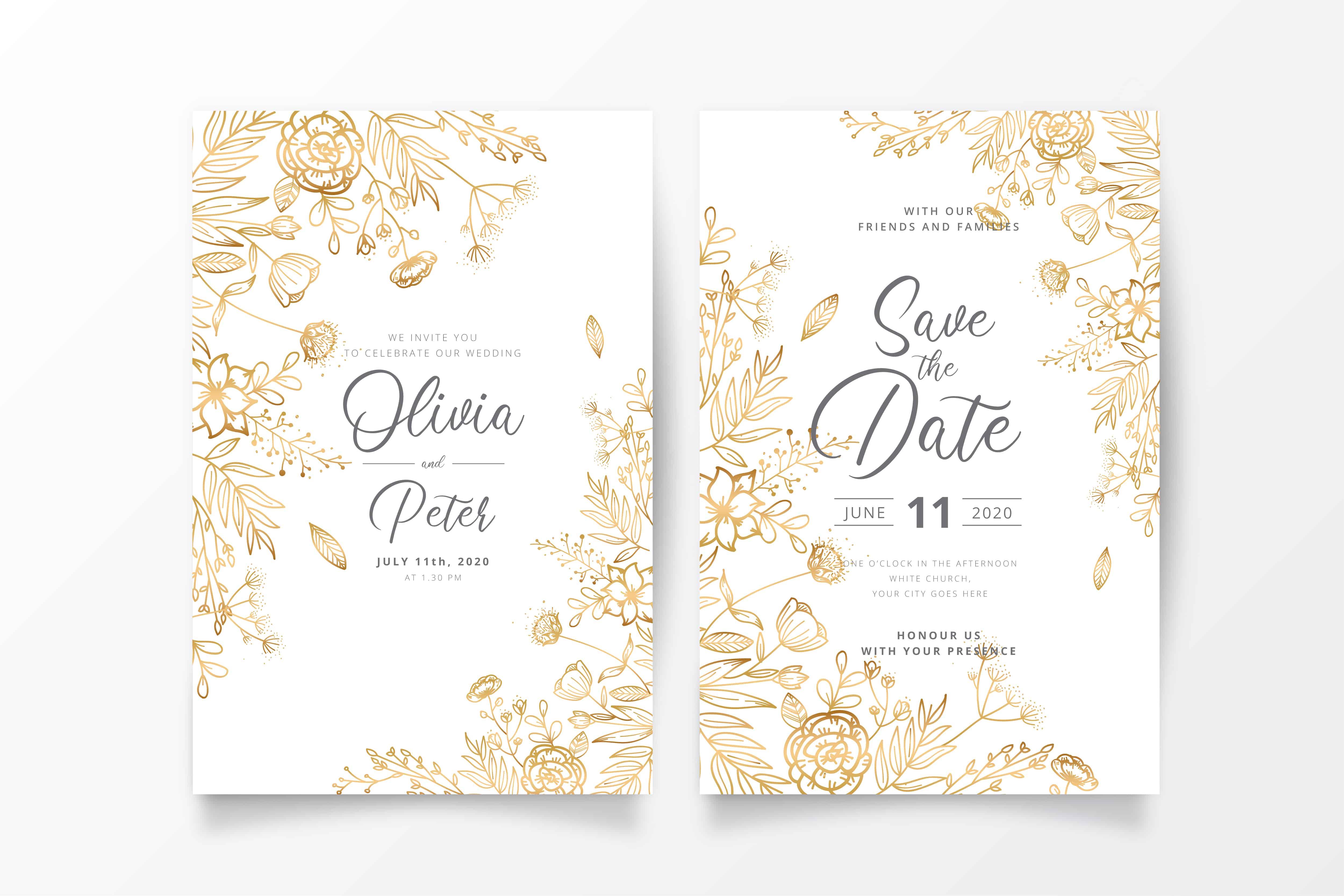 Golden Flowers - Wedding Invitation