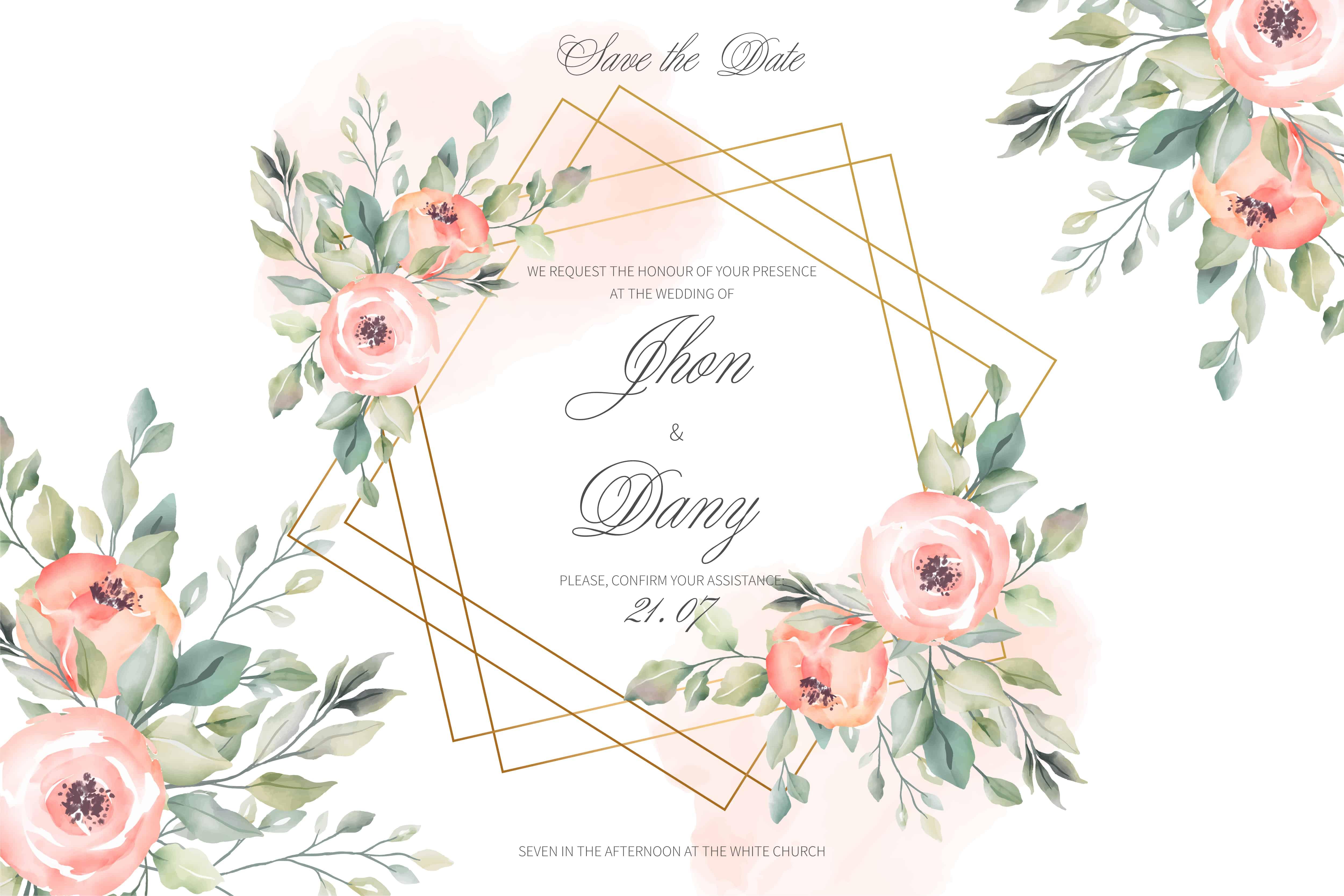Peach Watercolour - Wedding Invitation