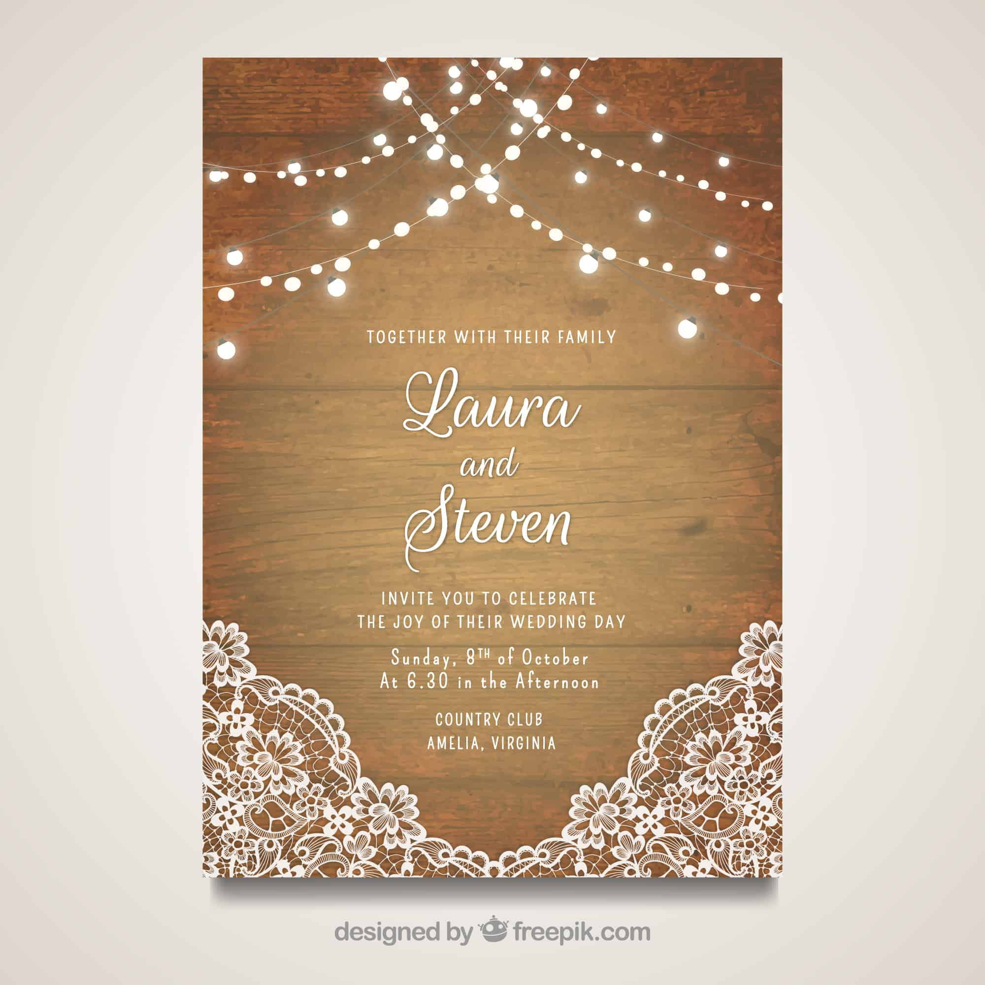 Rustic Lace - Wedding Invitation