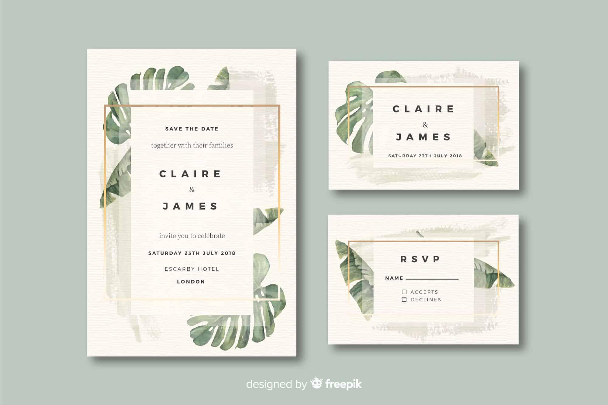 Watercolour Leaf - Wedding Invitation