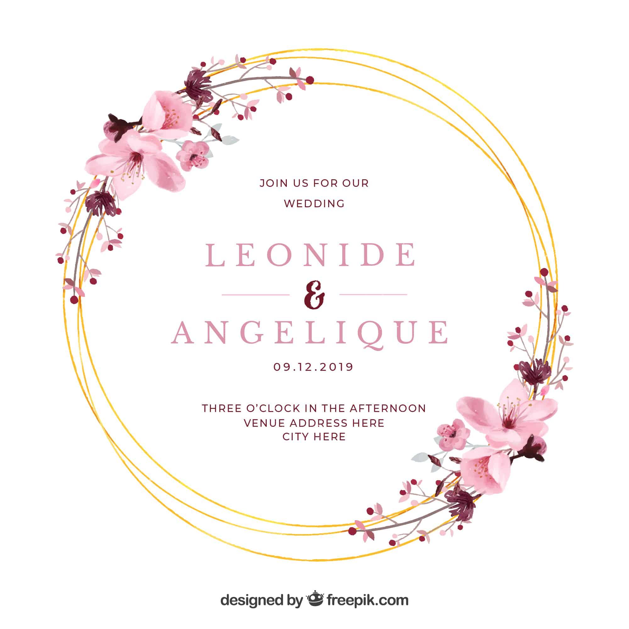 Watercolour Wreath - Wedding Invitation