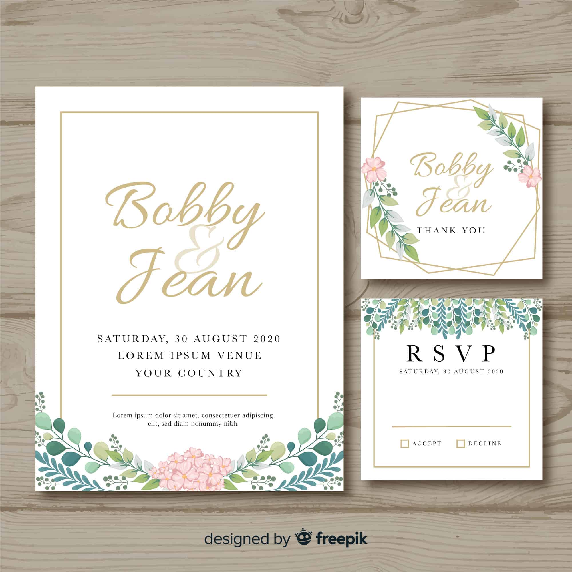 Leaves and Frame - Wedding Invitation