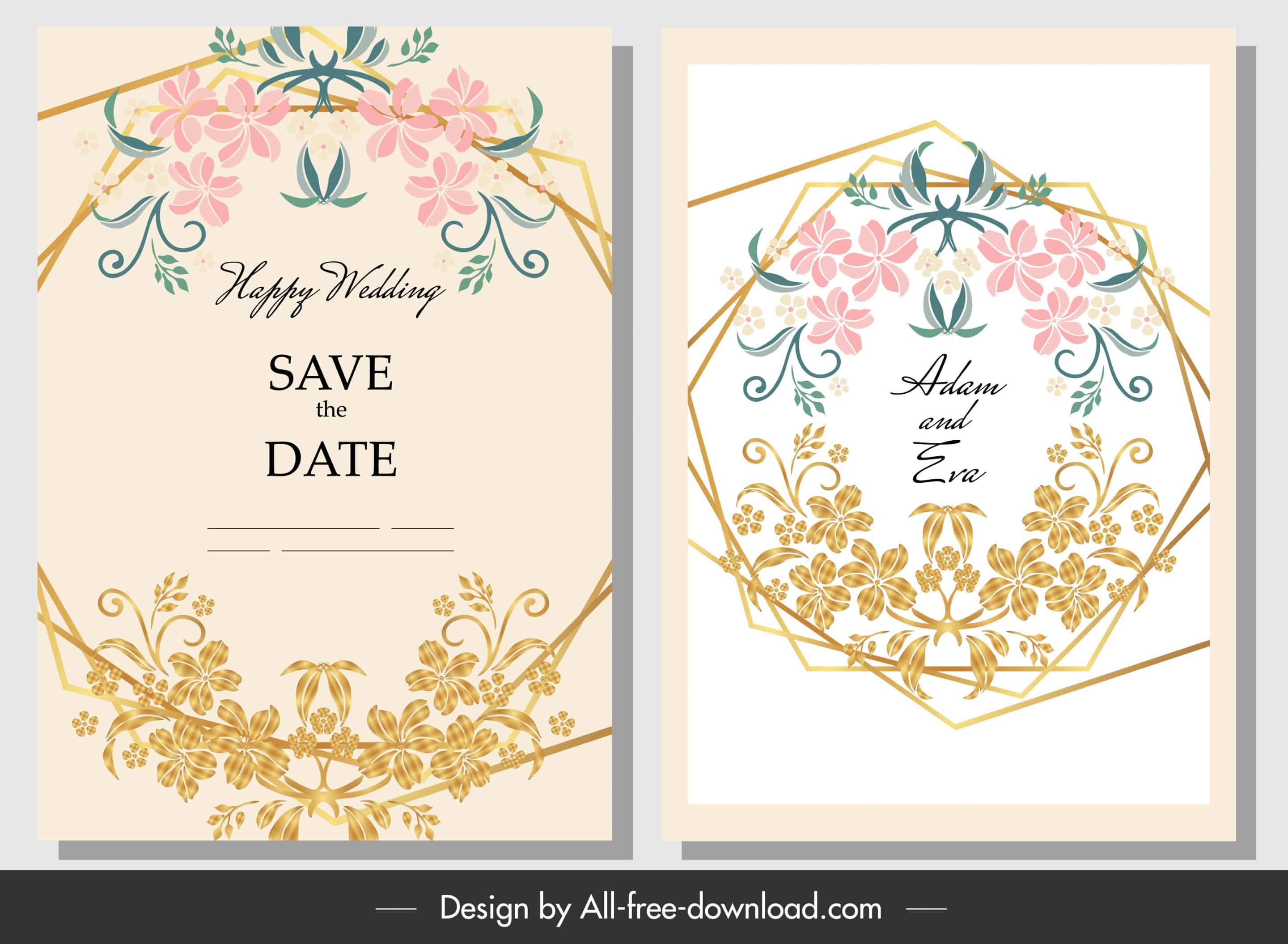 Floral Golden Frame - Wedding Invitation