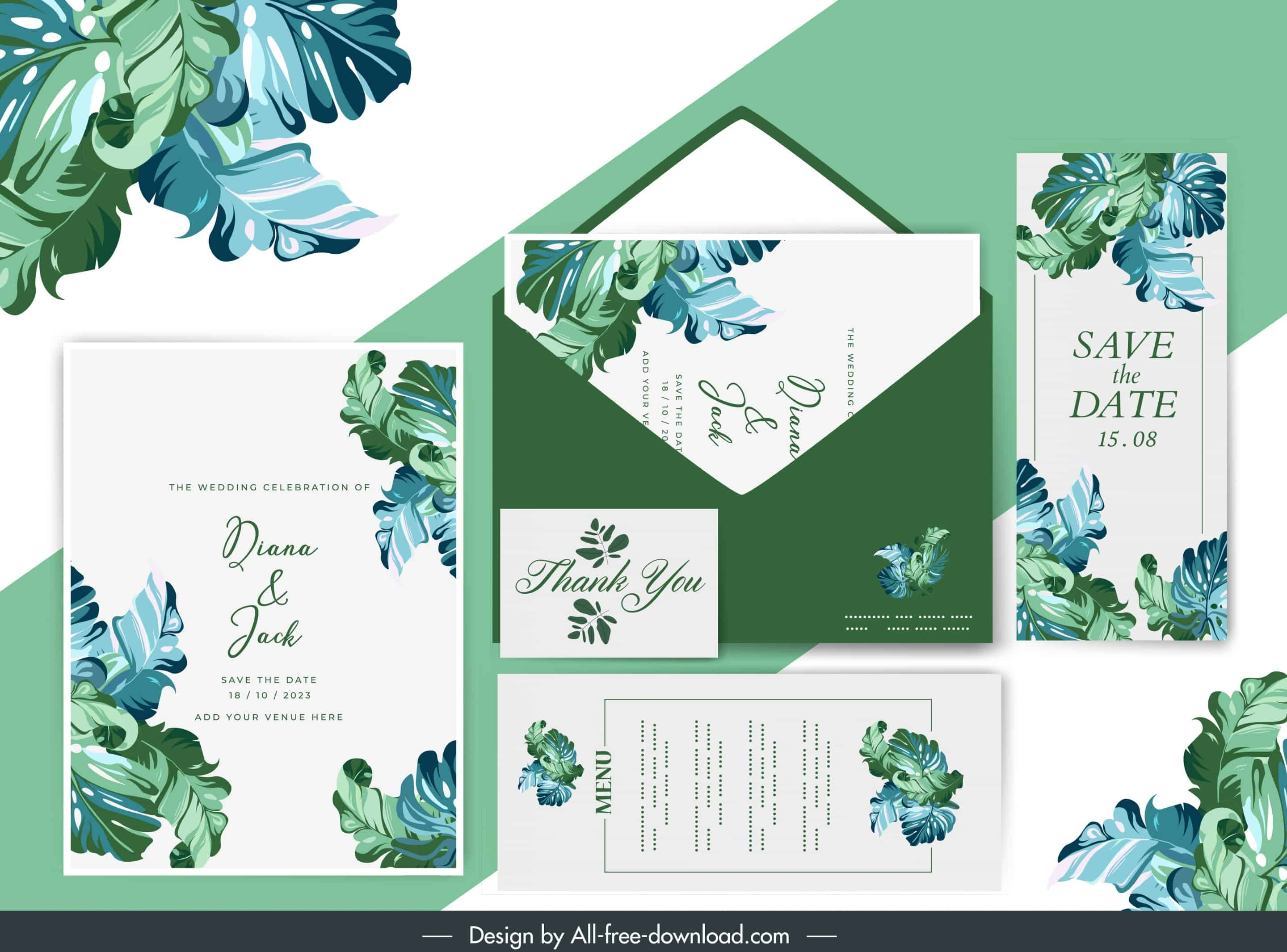 Green Leaves - Wedding Invitation