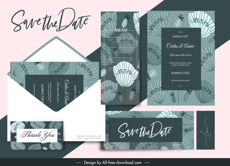 Dark Green Petals - Wedding Invitation