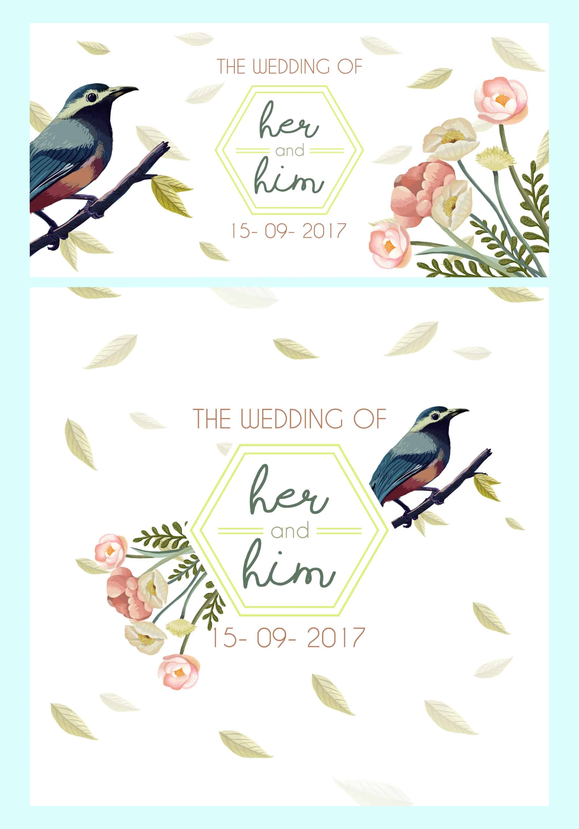 Flowers and Sparrow - Wedding Invitation