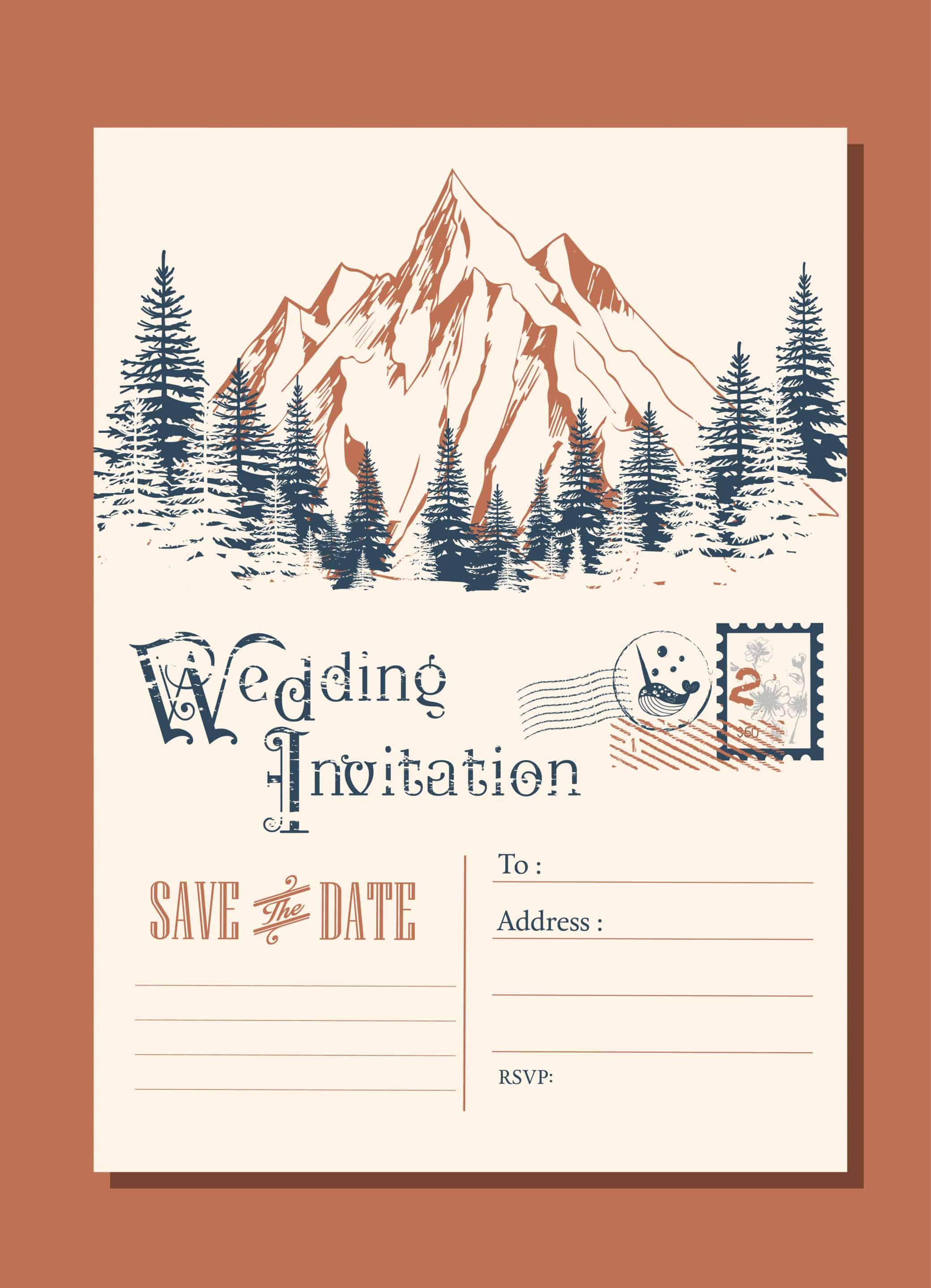Mountain Landscape - Wedding Invitation