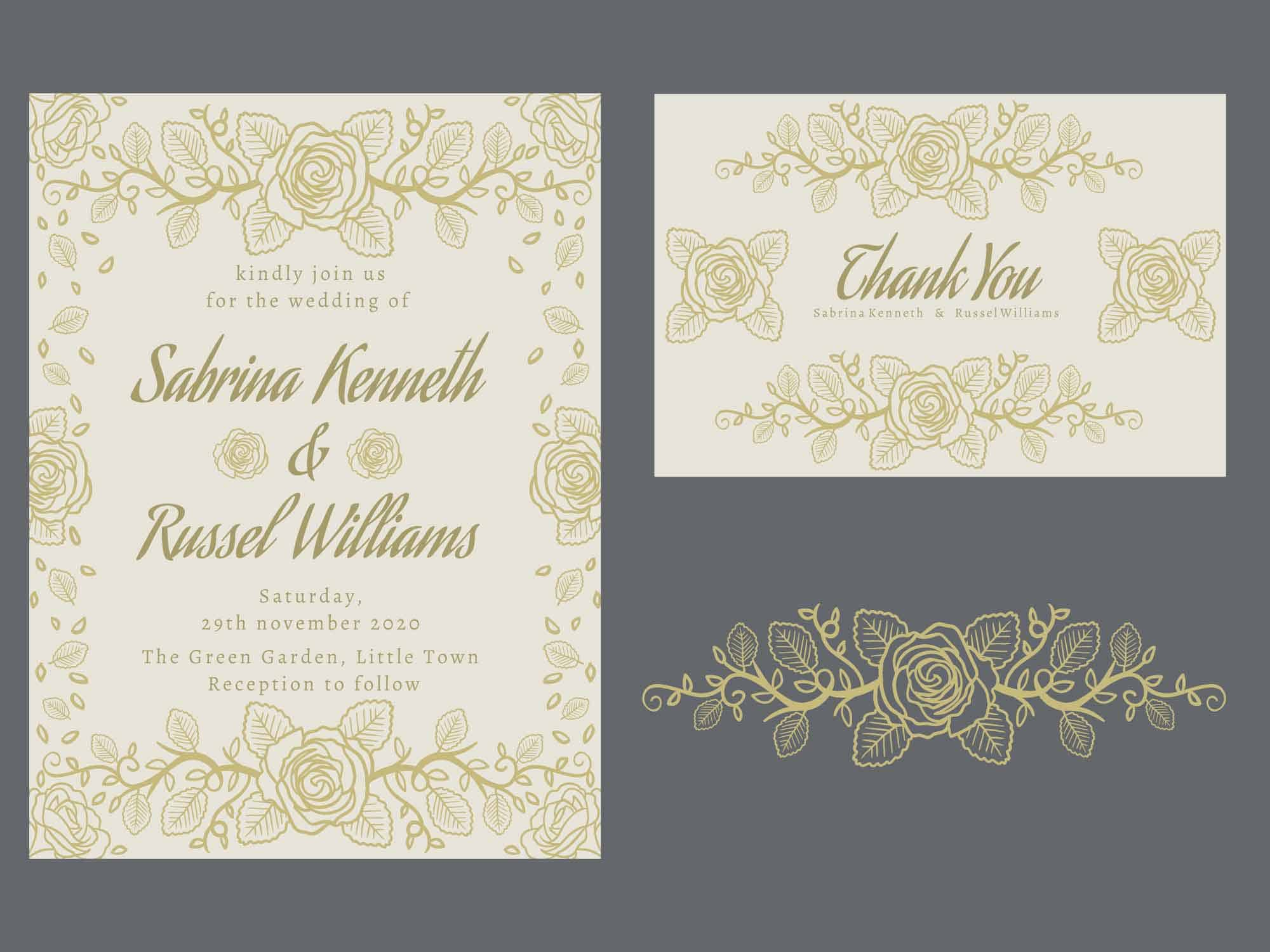 Gold Roses - Wedding Invitation