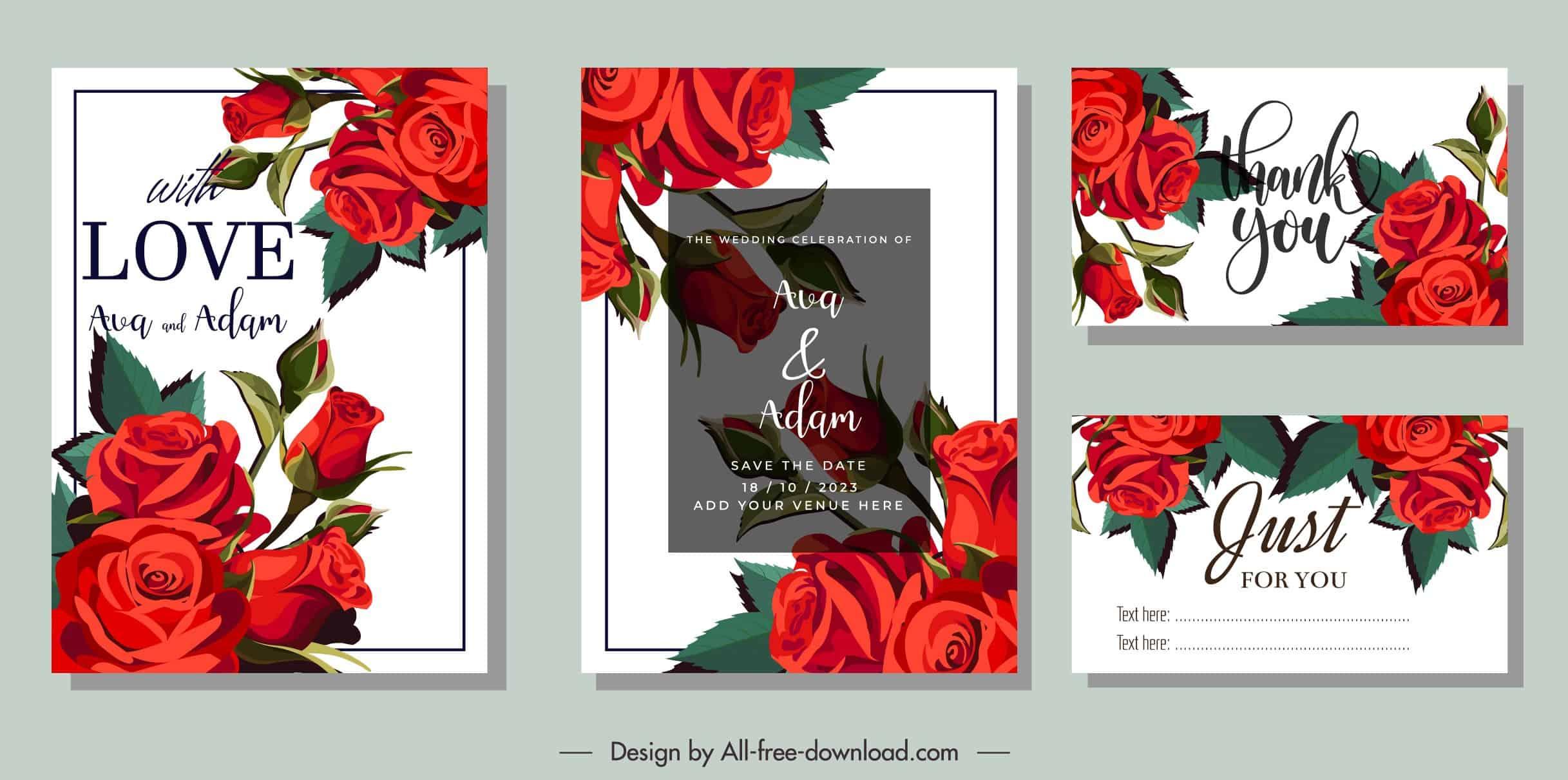 Red Roses - Wedding Invitation