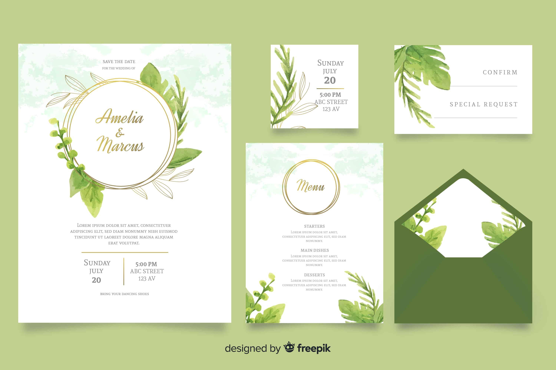 Green Watercolours - Wedding Invitations