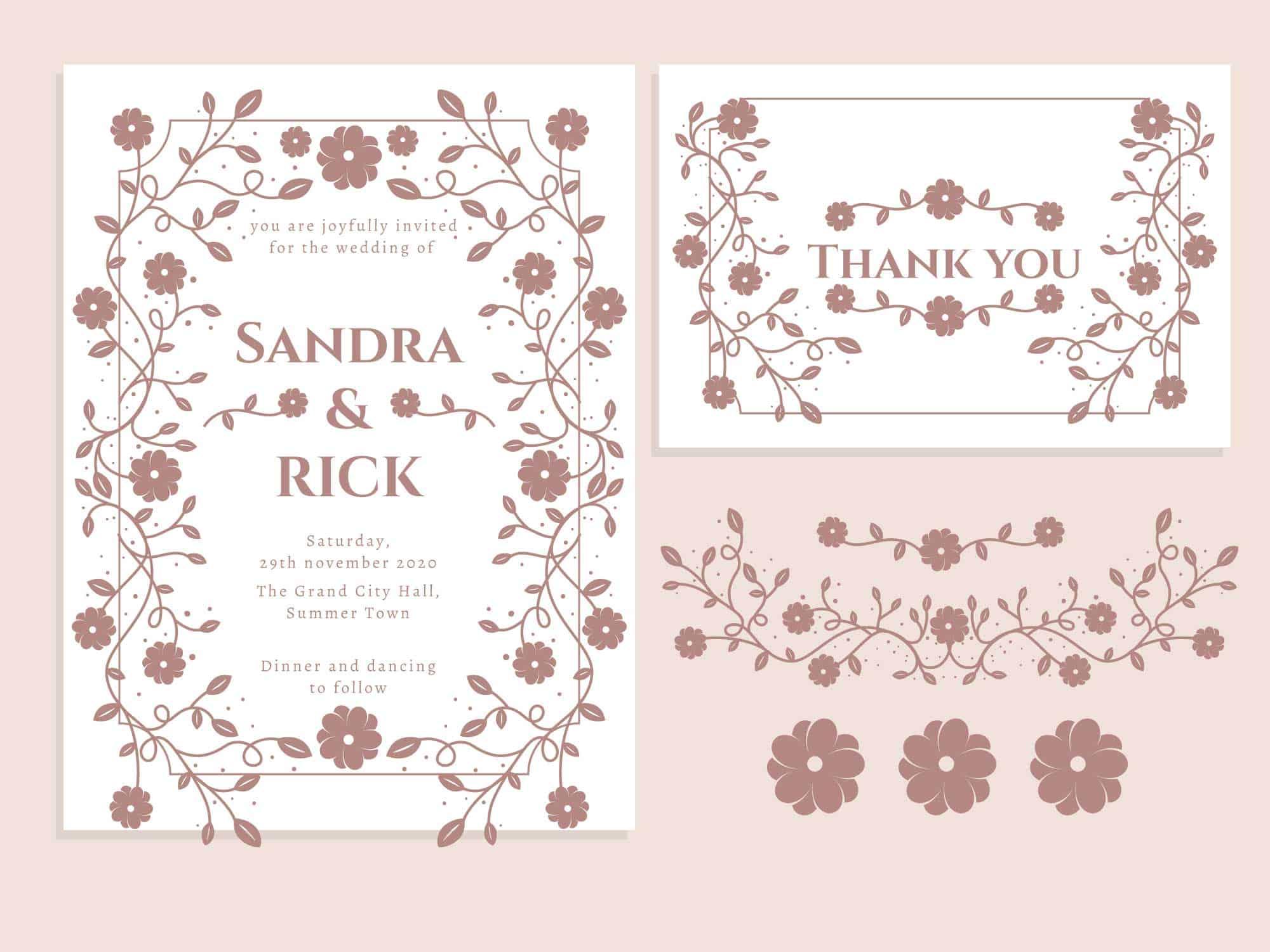 Powder Pink - Wedding Invitation