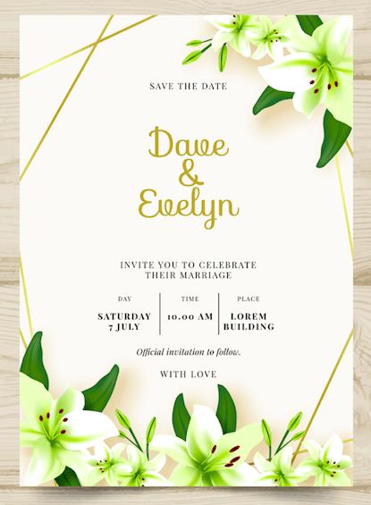 White Lilly - Wedding Invitation