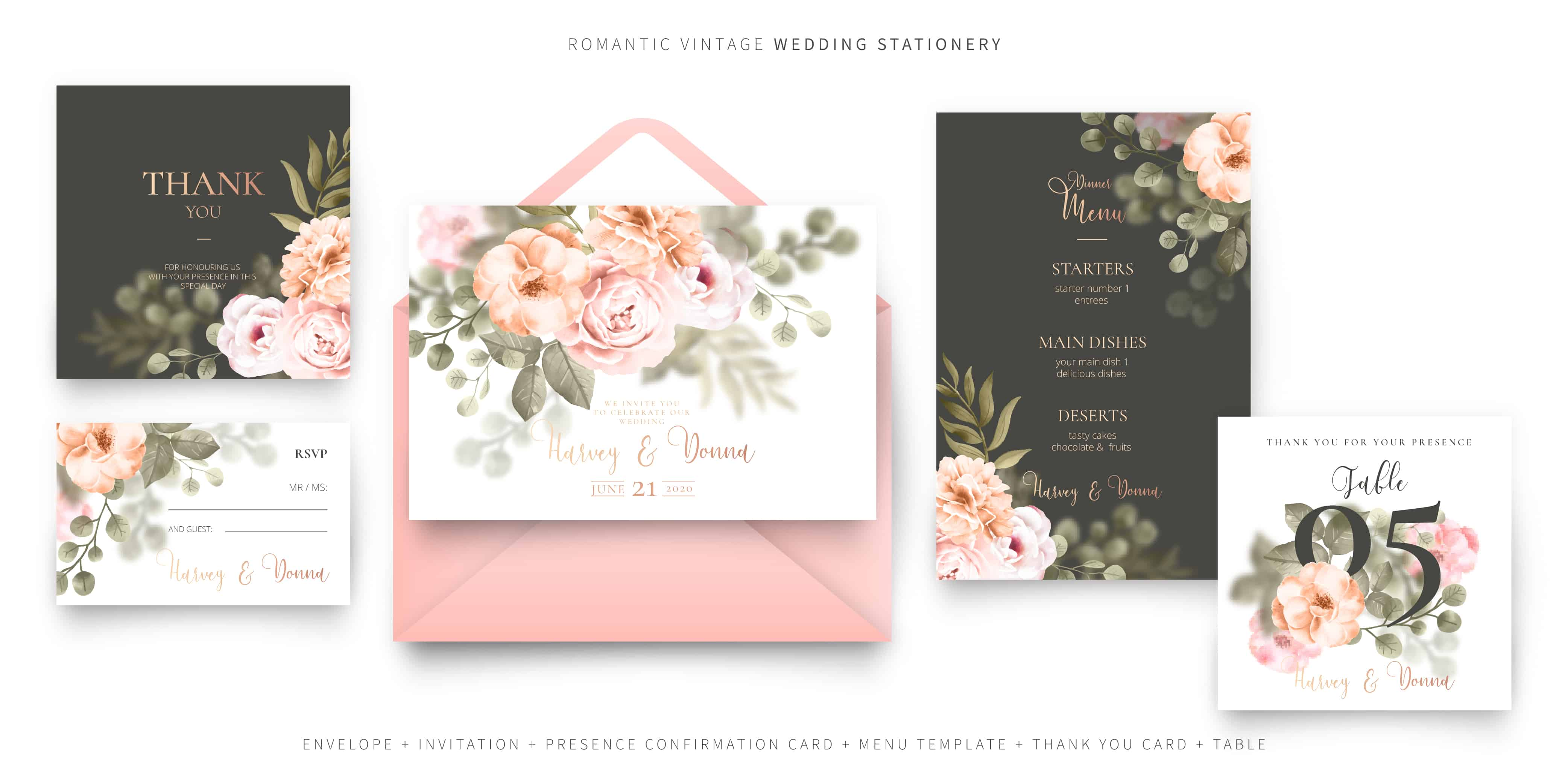 Green and Rose - Wedding Invitation