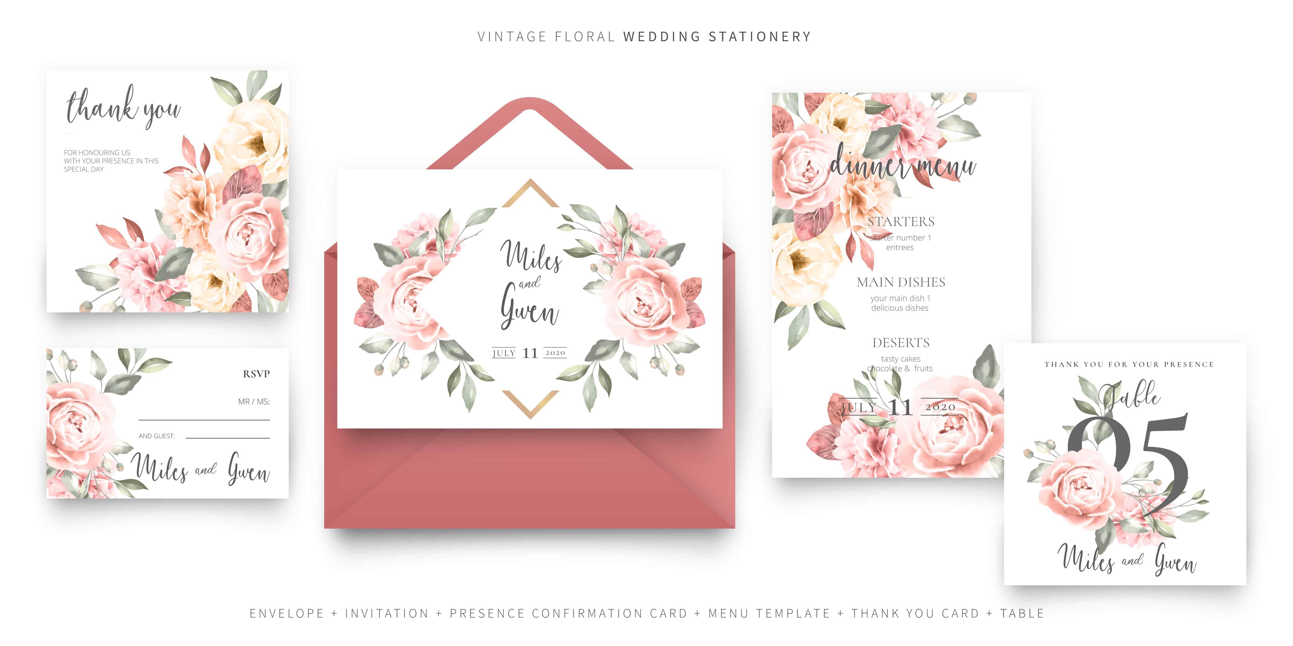 Peony Rose - Wedding Invitation