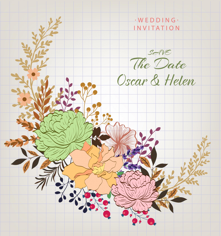 Vector Flowers - Wedding Invitation