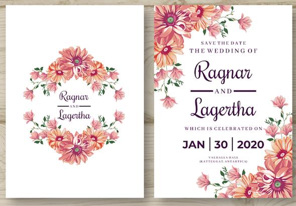 Orange Flowers - Wedding Invitation