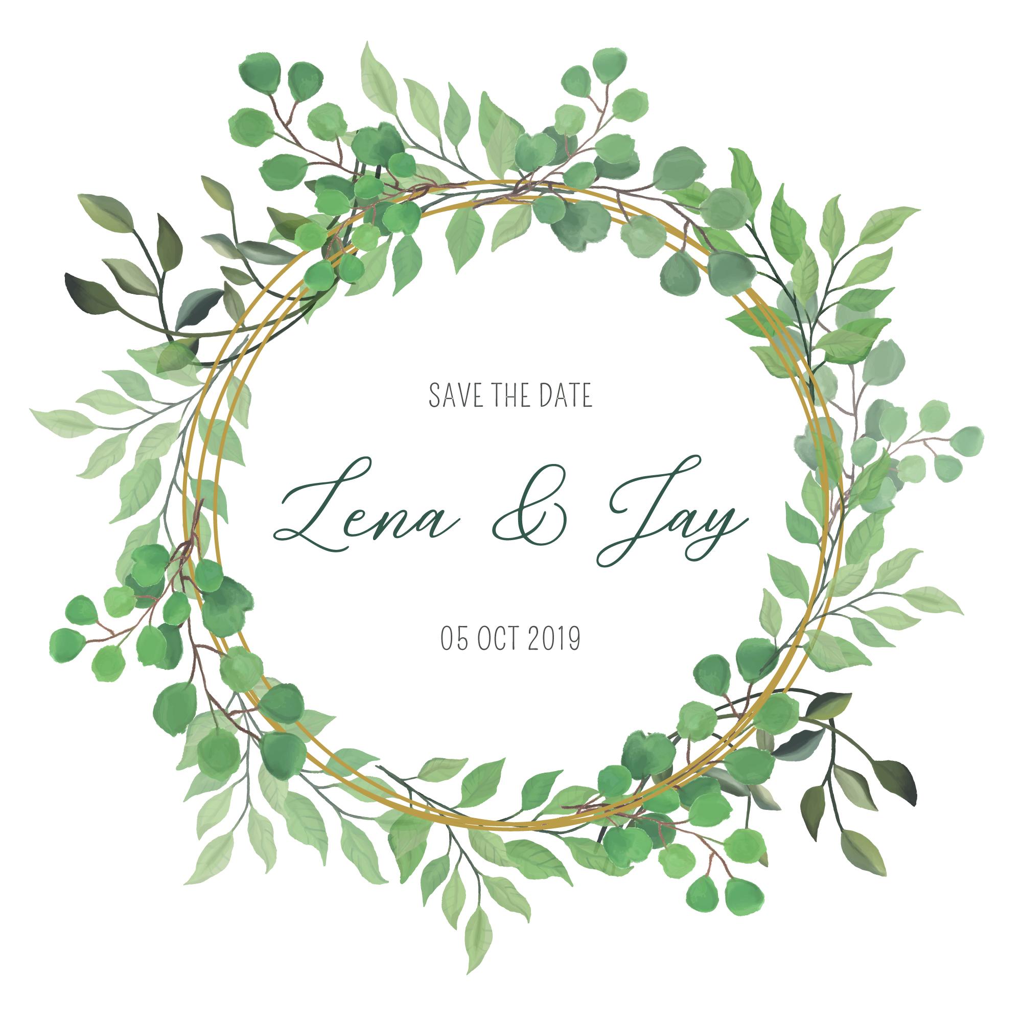 Green Wreath - Wedding Invitation